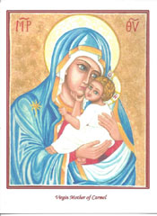 Icon Card of the Virgin Mother of Carmel