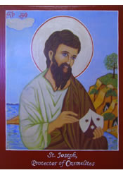 Embellished reproduction of St. Joseph, Protector of Carmelites